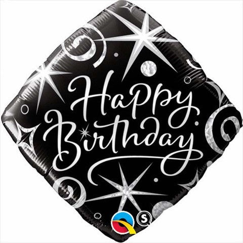Happy Birthday Diamond Black & Silver Foil Balloon #29988