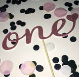 1st Birthday 'One' Glittered Cake Topper in Pink