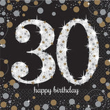 30th Birthday Napkin Black, Gold & Silver 16pk