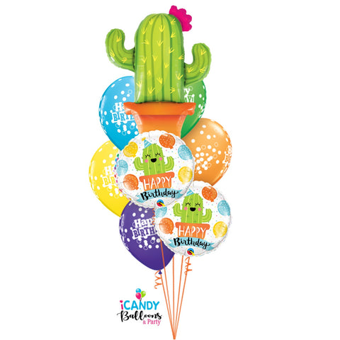Mexican Cactus Birthday Extravaganza Balloon Bouquet