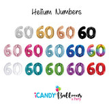 60th Giant Helium Number Balloons 14 Colours to choose from