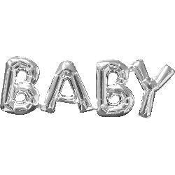 BABY Foil Joined Word Silver Balloon #33106