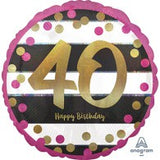 40th Birthday Foil Black, Gold, Magenta Balloon #37163
