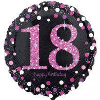 18th Birthday Foil Pink & Black Celebration Holographic #33783