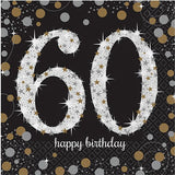 60th Birthday Napkins Black, Silver & Gold