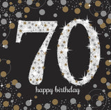 70th Birthday Napkins Black Silver & Gold