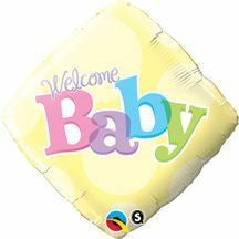 Welcome Baby Yellow Diamond Foil Balloon 45cm #25326