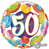 50th Birthday Foil Multi Dots 45cm Balloon #37905