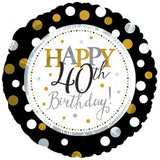 40th Birthday Foil Dots Gold, Silv, Blk Balloon #117803