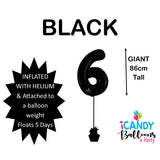 Black Number 6 Foil 86cm Balloon #48306