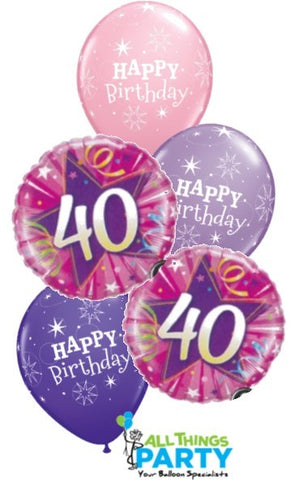 40th Birthday Girl Star Bouquet 40BD06 ICANDY Balloons Party