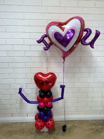Mr Smile Heart Shaped Column Balloon- I <3 U