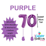 70th Giant Helium Number Balloons 14 Colours to choose from