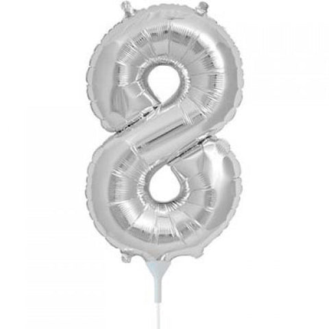 Silver Number 8 Balloon 41cm #00440
