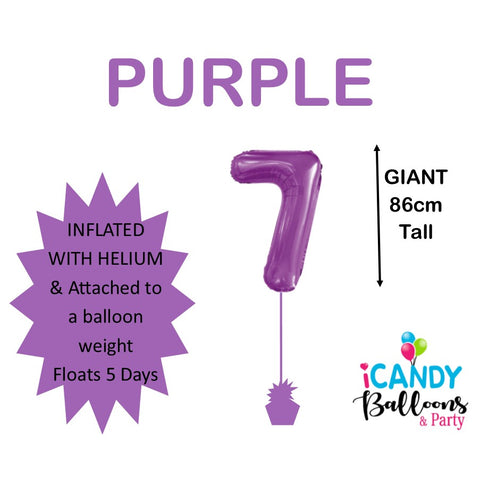 Purple Number 7 Foil 86cm Balloon #50627