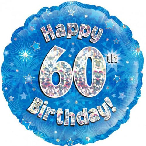 60th Birthday Foil Blue Balloon Oaktree #228038