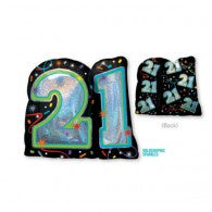 21st Birthday Brilliant Black Foil Supershape Balloon #32116