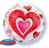 Red Hearts & Filigree Bubble Balloon #33909