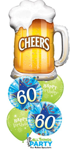 60th Birthday Cheers Balloon Bouquet