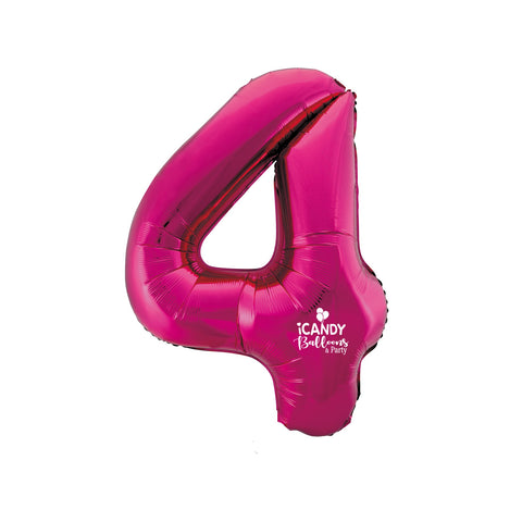 Magenta Number 4 Foil 86cm Balloon #48324
