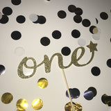 1st Birthday 'One' Glittered Cake Topper in Gold with Star