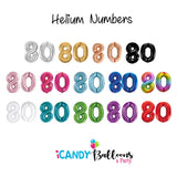 80th Giant Helium Number Balloons 14 Colours to choose from