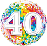 40th Birthday Foil 45cm Confetti Balloon #49532