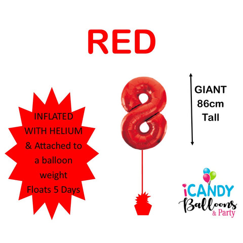 Red Number 8 Foil 86cm Balloon #50608