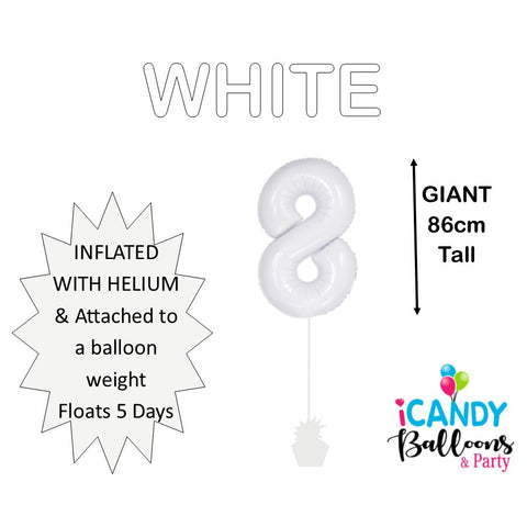 White Number 8 Foil Balloon #50678