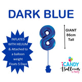Dark Blue Number 8 Foil 86cm Balloon #213738