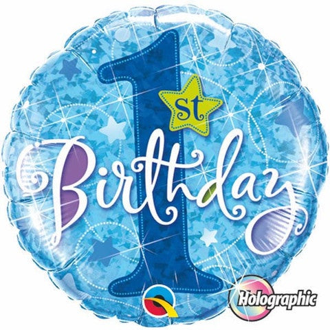 1st Birthday Foil Blue Holographic 45cm Balloon #41592