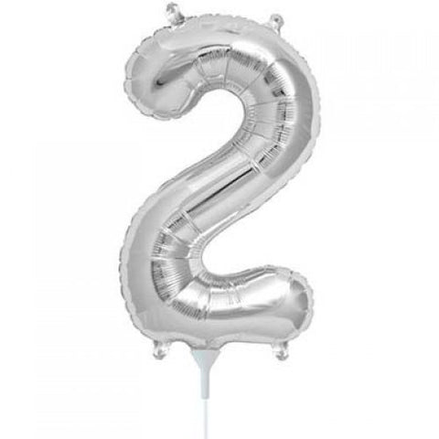 Silver Number 2 Balloon 41cm #00434