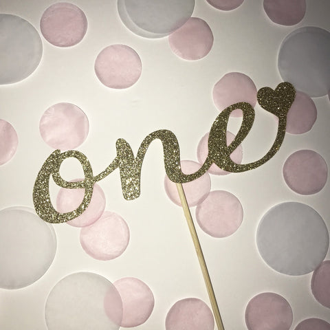 1st Birthday 'one' Glittered Cake Topper in Gold with Heart
