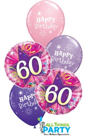 60th Birthday Girl Star Balloon Bouquet #60BD06