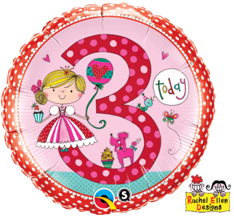 3rd Birthday Foil Princess Balloon #23475