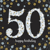 50th Birthday Napkins Black, Silver & Gold