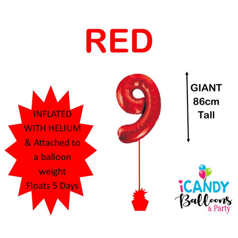 Red Number 9 Foil 86cm Balloon #50609