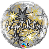 Congratulation Silver With Gold Stars Foil 45cm Balloon #36397