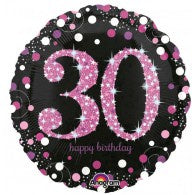 30th Birthday Foil Magenta & Black Balloon #33785