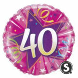40th Birthday Foil Pink 45cm Balloon #25255