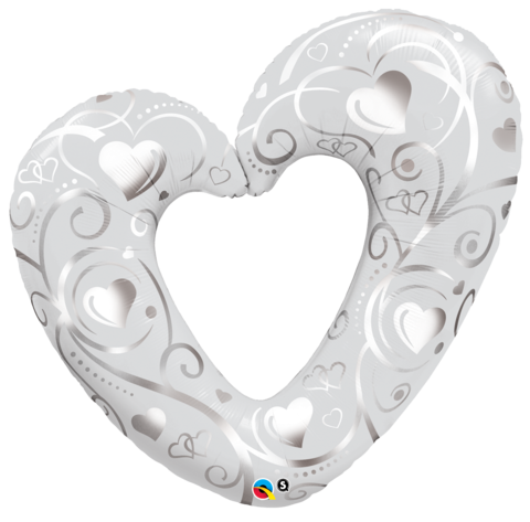 Heart White & Silver Foil Supershape Balloon #16304
