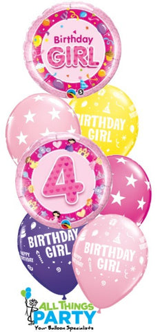 4th Birthday Girl Star Bouquet ICANDY Balloons Party