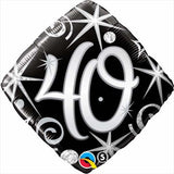 40th Birthday Foil Diamond Black & Silver #30012