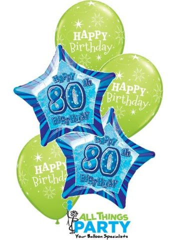 80th Birthday Lime Green Star Dazzler Balloon Bouquet 80BD05 ICANDY Balloons Party