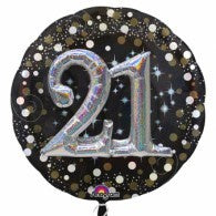 21st Birthday Foil Sparking Holographic 81cm Balloon #34512