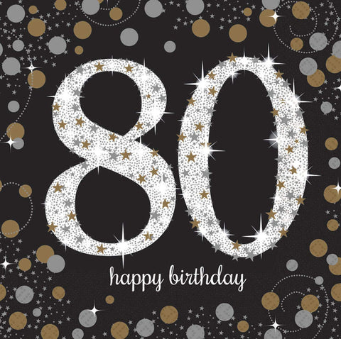 80th Birthday Napkins Black, Silver & Gold