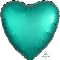 Green Heart Foil Satin Jade 43cm Balloon #36799