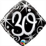 30th Birthday Foil Diamond Black & Silver 45cm #30007