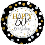 50th Birthday Foil Dots Gold, Silv, Blk Balloon #117804