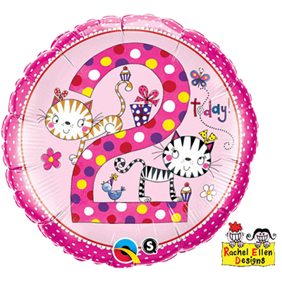 2nd Birthday Foil Cats Pink Balloon #23036